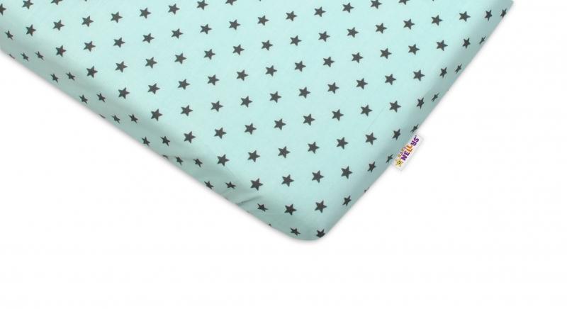 Bavlněné prostěradlo 60x120cm - Mini hvězdičky tyrkysové