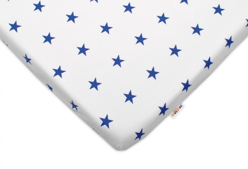 Bavlněné prostěradlo 60x120cm - Hvězdičky tm. modré