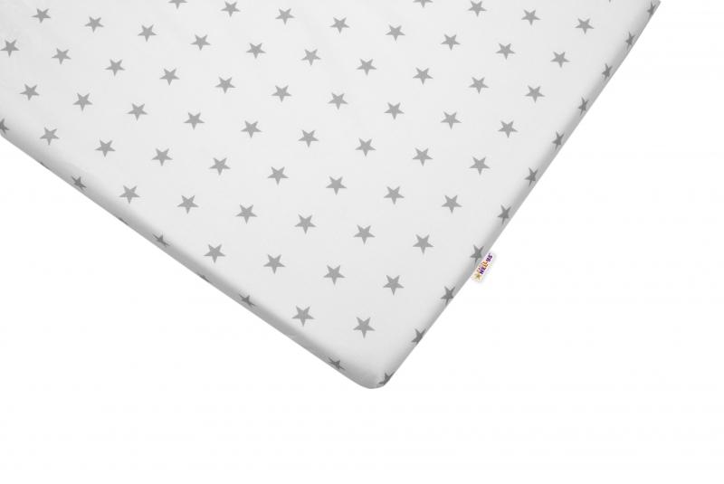 Bavlněné prostěradlo 60x120cm - Hvězdičky šedé