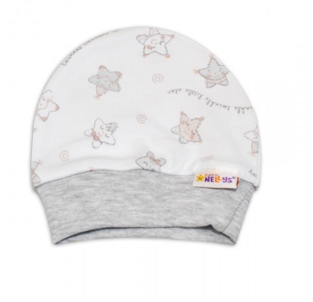 Čepička pro předčasně narozená miminka Baby Nellys ® - Hvězdičky šedé