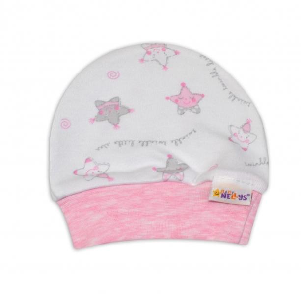 Čepička pro předčasně narozená miminka Baby Nellys ® - Hvězdičky růžové