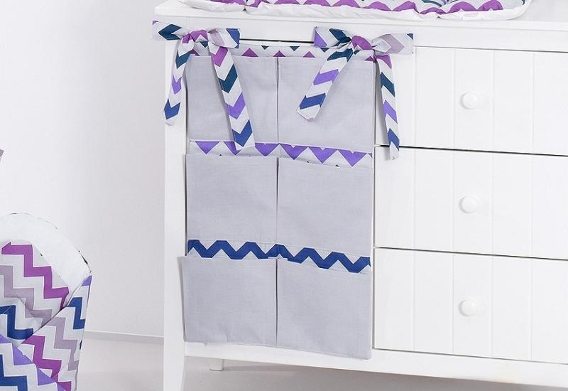 Mamo Tato Kapsář 40 x 65 cm - Zigzag fialový/šedá