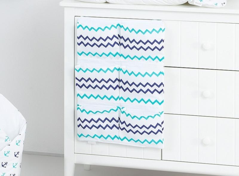 Kapsář 40 x 65 cm - Zigzag tm. modrý/zelený