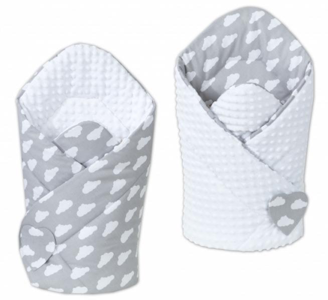 Mamo Tato Oboustranná zavinovačka Minky Baby - Mráčky bílé na šedém/ bílá