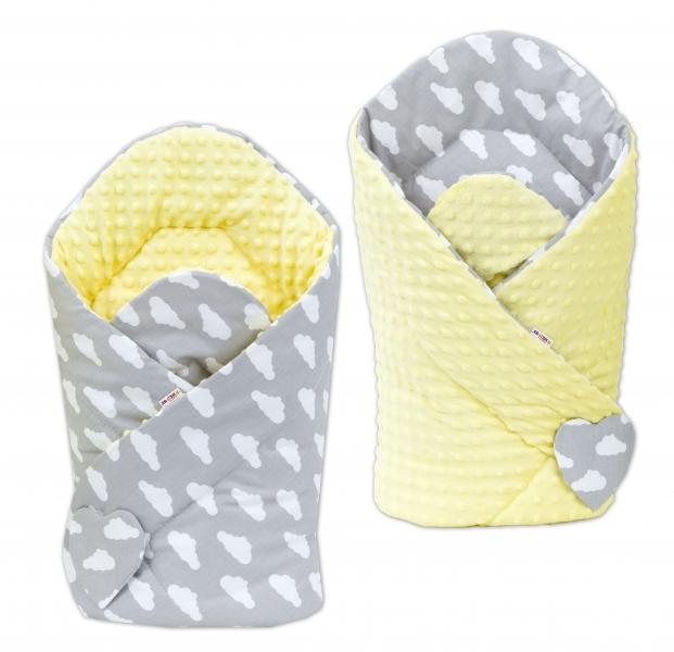 Baby Nellys Oboustranná zavinovačka Minky Baby - Mráčky bílé na šedém/žlutá