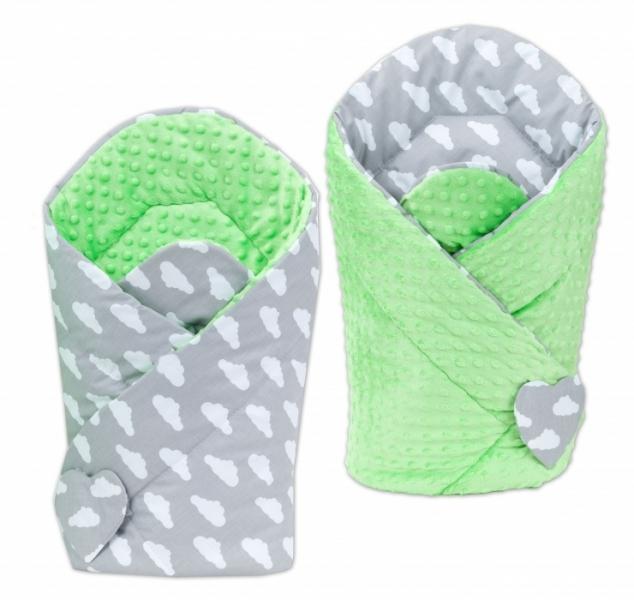Mamo Tato Oboustranná zavinovačka Minky Baby - Mráčky bílé na šedém/zelená