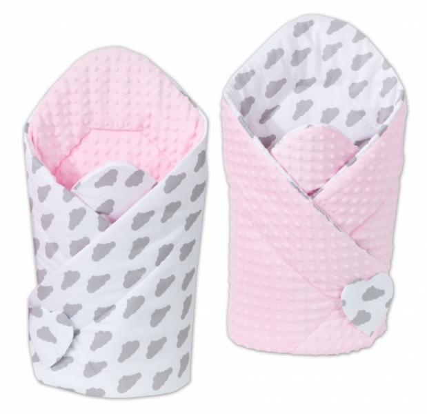 Mamo Tato Oboustranná zavinovačka Minky Baby - Mráčky šedé na bílém/růžová