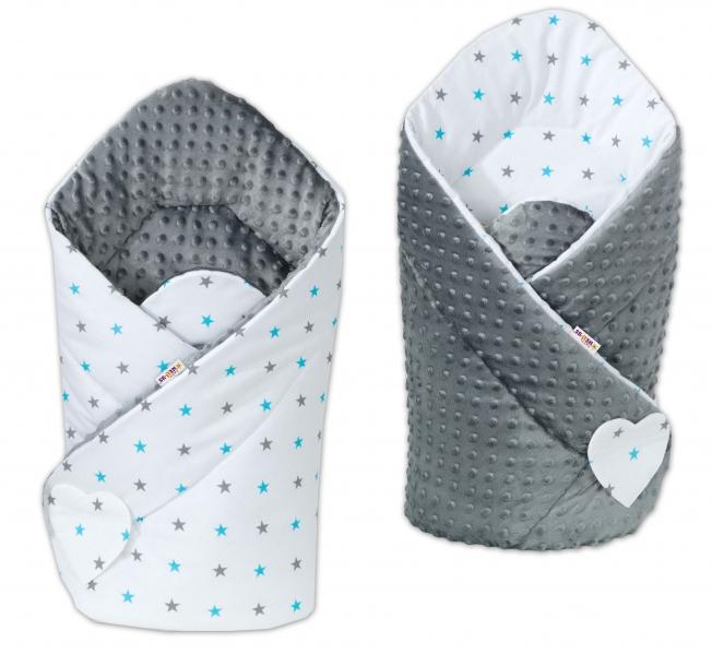 Oboustranná zavinovačka Minky Baby - Hvězdičky modré a šedé/šedá