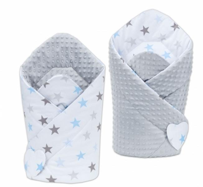 Mamo Tato Oboustranná zavinovačka Minky Baby - Hvězdy modré a šedé/sv. šedá