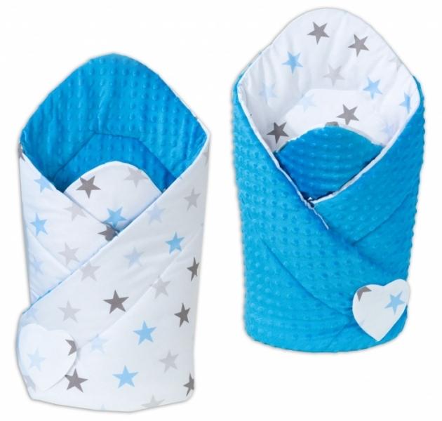 Mamo Tato Oboustranná zavinovačka Minky Baby - Hvězdy modré a šedé/ modrá