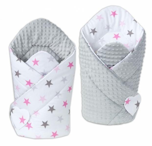 Mamo Tato Oboustranná zavinovačka Minky Baby - Hvězdy růžové a šedé/ sv. šedá