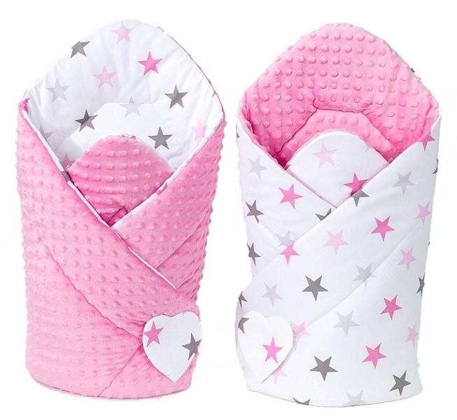 Mamo Tato Oboustranná zavinovačka Minky Baby - Hvězdy růžové a šedé/ růžová