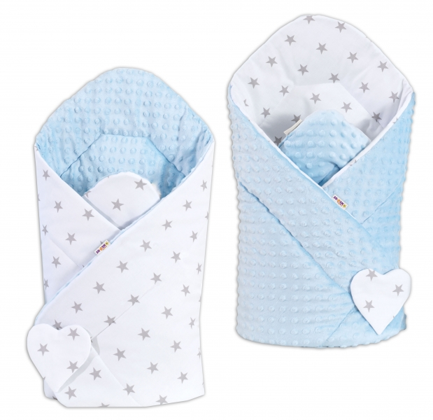 Oboustranná zavinovačka Minky Baby - Hvězdičky šedé na bílém/ sv. modrá