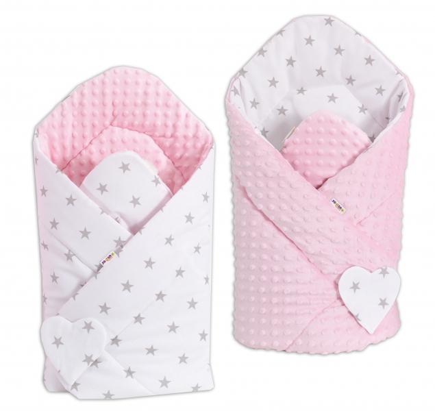 Oboustranná zavinovačka Minky Baby - Hvězdičky šedé na bílém/ růžová