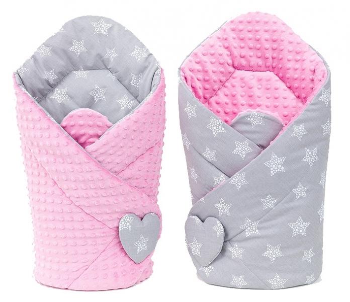 Mamo Tato Oboustranná zavinovačka Minky Baby - Hvězdy šedé/růžová