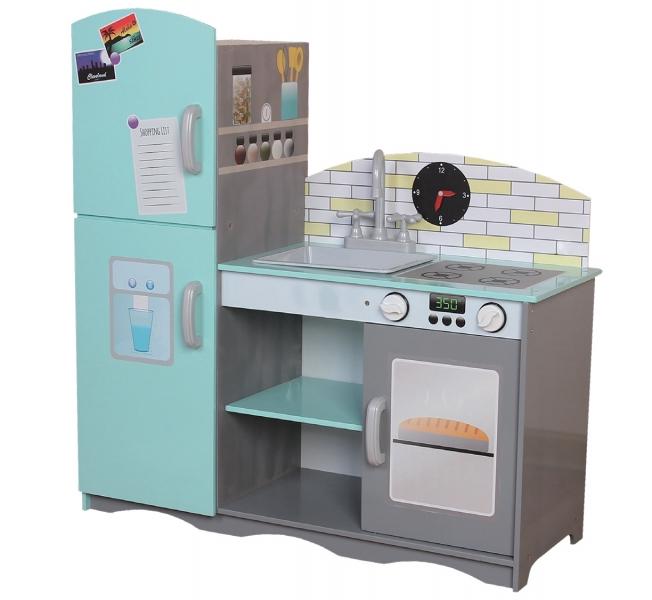 Dřevěná kuchyňka - mátová/šedá