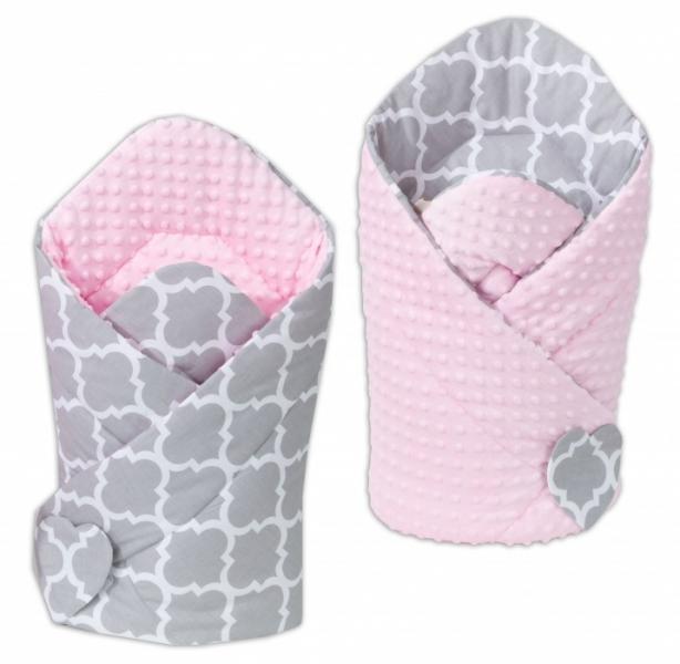 Mamo Tato Oboustranná zavinovačka Minky Baby - Maroko šedé/sv. růžová