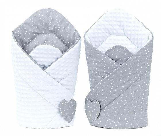 Mamo Tato Oboustranná zavinovačka Minky Baby - Mini hvězdičky bílé na šedém/ bílá