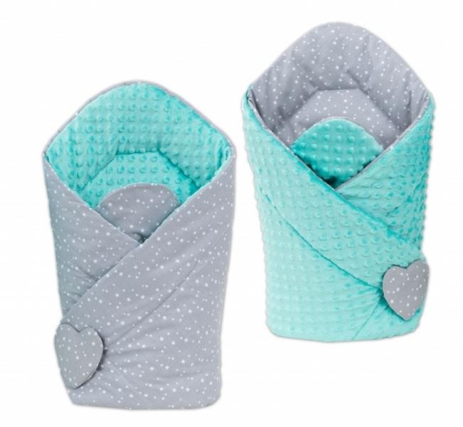 Mamo Tato Oboustranná zavinovačka Minky Baby - Mini hvězdičky bílé na šedém/ mátová