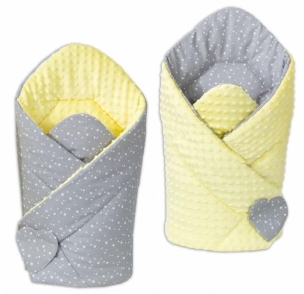 Mamo Tato Oboustranná zavinovačka Minky Baby - Mini hvězdičky bílé na šedém/ žlutá