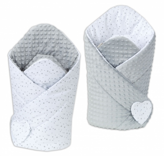 Mamo Tato Oboustranná zavinovačka Minky Baby - Mini hvězdičky šedé na bílém/ šedá