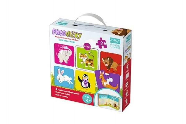 Puzzle s knížkou polovičky Zvířata světa 12ks 21x22cm v krabici
