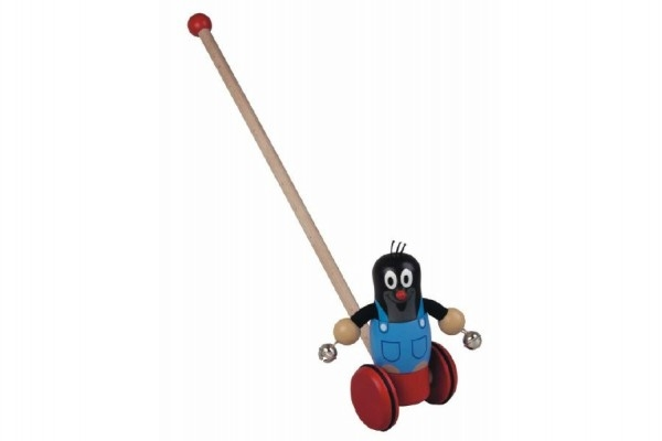 Strkadlo Krtek dřevo 55cm na kolečkách tlačící s tyčkou