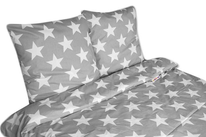 bavlna povlečení Big Stars - šedé 140x200 70x80