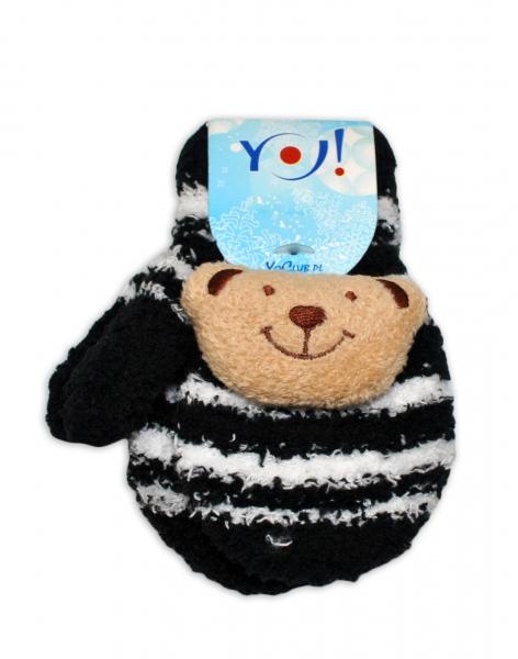 Zimní kojenecké  froté rukavičky se šňůrkou YO - černé/bélé - medvídek