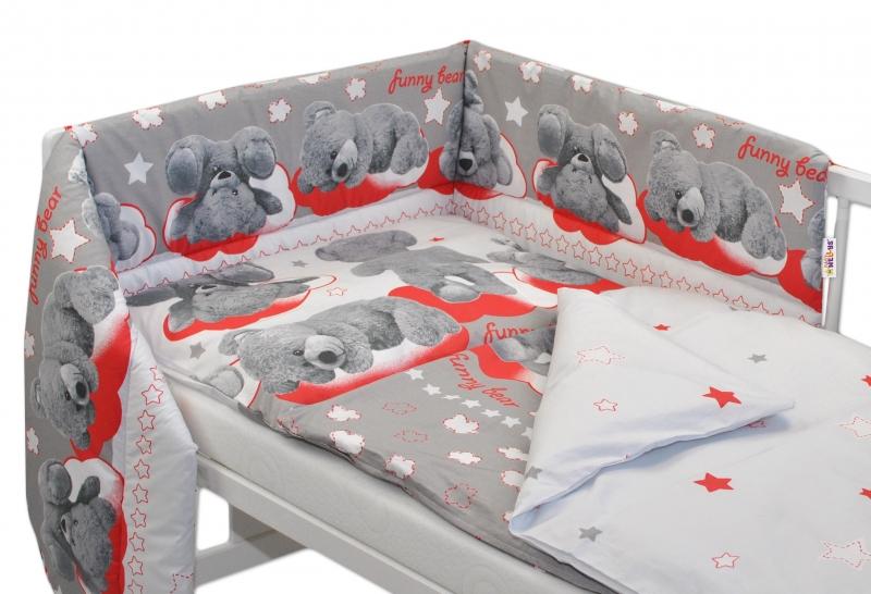 Baby Nellys Mantinel s povlečením  Medvídek hvězdička - šedý s červenou