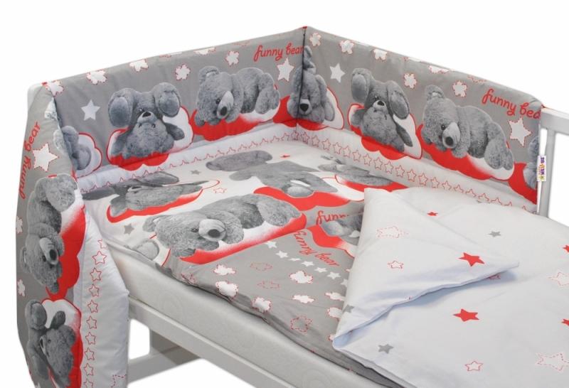 Baby Nellys Mantinel s povlečením 135x100 cm, Medvídek hvězdička - šedý s červenou