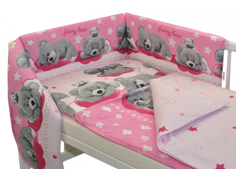Baby Nellys Mantinel s povlečením  Medvídek hvězdička - růžový