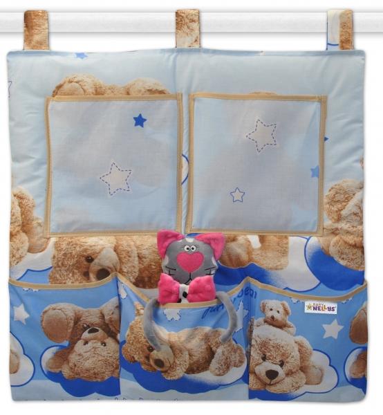 Baby Nellys  Kapsář na postýlku Medvídek hvězdička - modrý