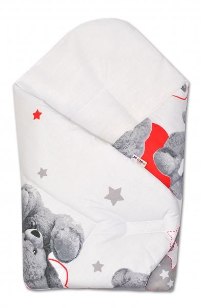 Baby Nellys  Novorozenecká zavinovačka Medvíek hvězdička - šedá s červenou