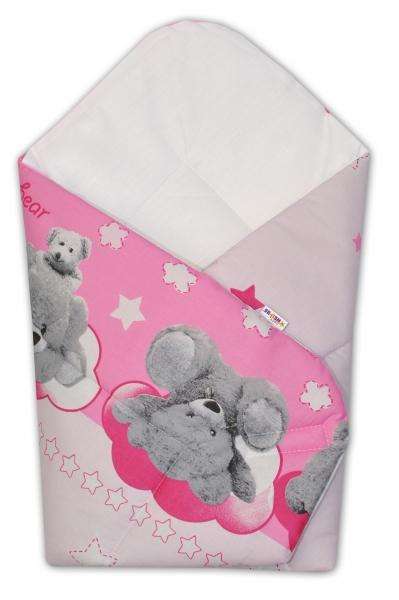 Baby Nellys  Novorozenecká zavinovačka Medvídek hvězdička - růžová