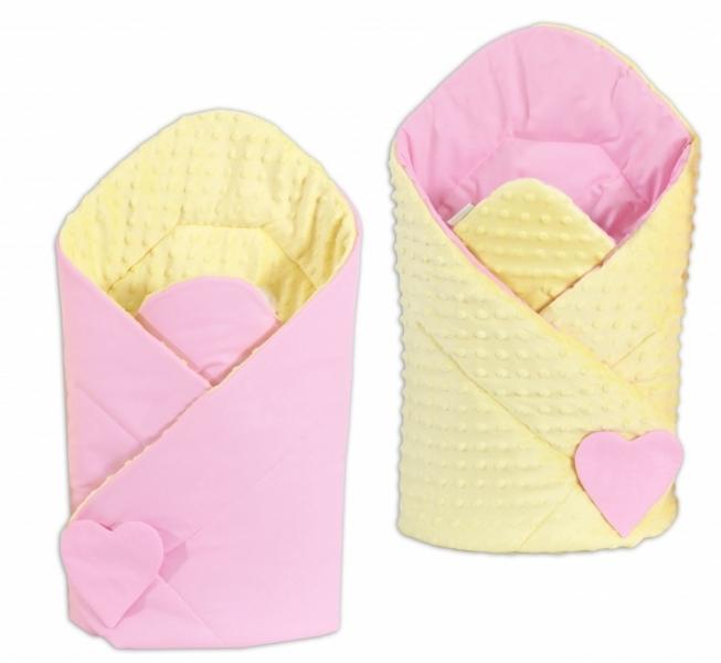 Mamo Tato Oboustranná zavinovačka Minky Baby - sv. růžová/žlutá