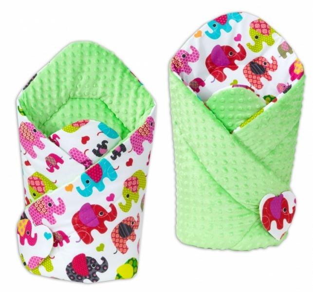 Mamo Tato Oboustranná zavinovačka Minky Bab - Sloni růžoví/ zelená