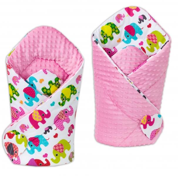Oboustranná zavinovačka Minky Baby - Sloni růžoví/sv. růžová