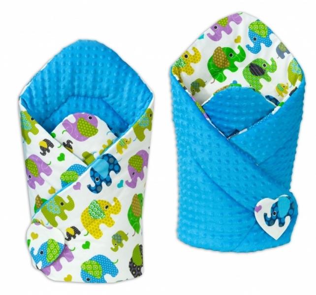 Mamo Tato Oboustranná zavinovačka Minky Baby - Sloni zelení/modrá
