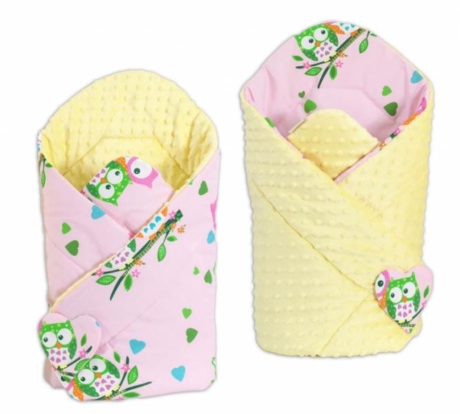 Mamo Tato Oboustranná zavinovačka Minky Baby - Sovičky sv. růžové/ žlutá