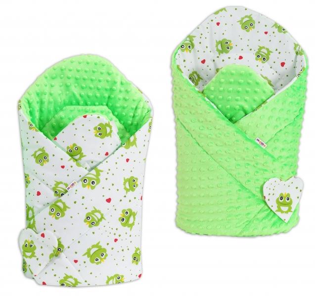 Oboustranná zavinovačka Minky Baby - Žabky/ zelená