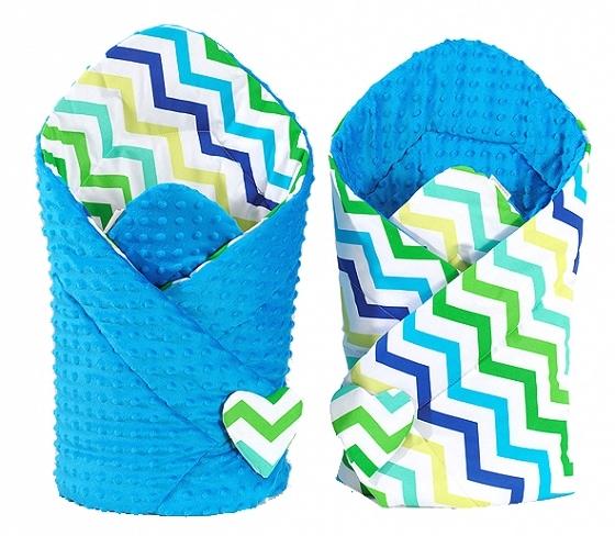 Mamo Tato Oboustranná zavinovačka Minky Baby - Zigzag modro-zelený/ modrá