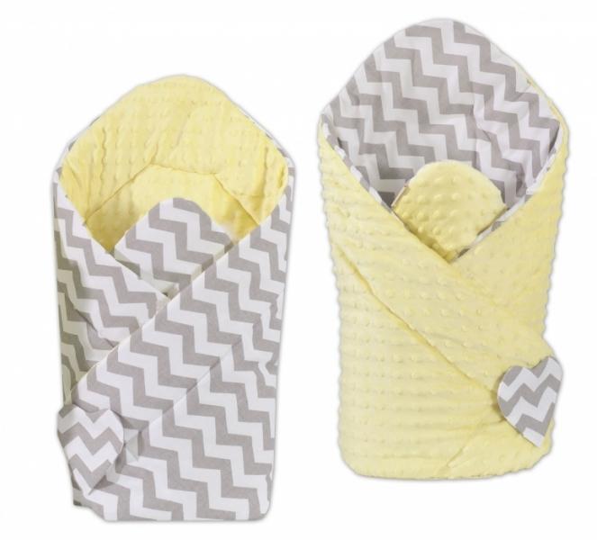 Mamo Tato Oboustranná zavinovačka Minky Baby - Zigzag šedý/ žlutá