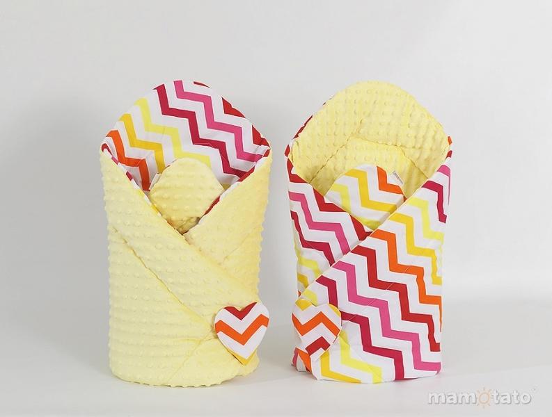 Mamo Tato Oboustranná zavinovačka Minky Baby - Zigzag žluto-červený/ žlutá