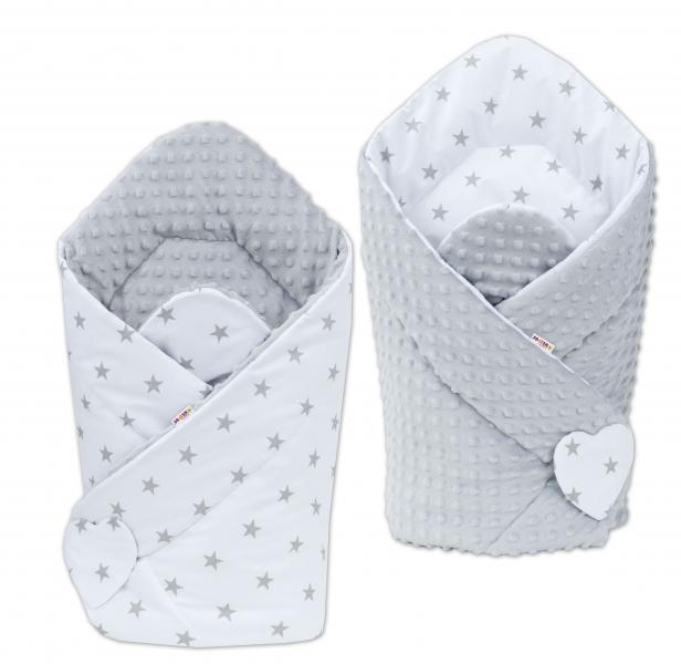 Oboustranná zavinovačka Minky Baby - Hvězdičky šedé na bílém/ šedá