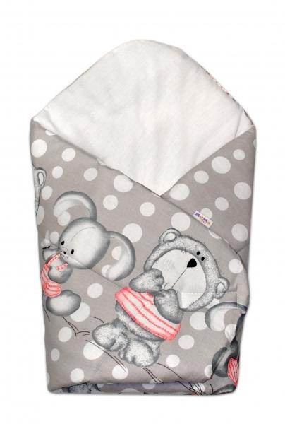 Baby Nellys  Novorozenecká zavinovačka Medvídek s králíčkem Bubble, 75x75 cm - šedá