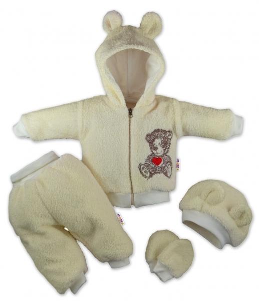 Baby Nellys 5-ti dílný chlupáčkový komplet Teddy vel. 74 - krémový