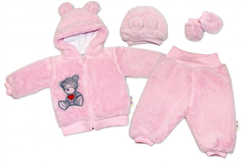 Baby Nellys 5-ti dílný chlupáčkový komplet Teddy vel. 74 - růžový, Velikost: 74 (6-9m)
