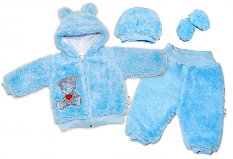 Baby Nellys Chlupáčkový komplet Welsoft Teddy vel. 74 - modrý, Velikost: 74 (6-9m)