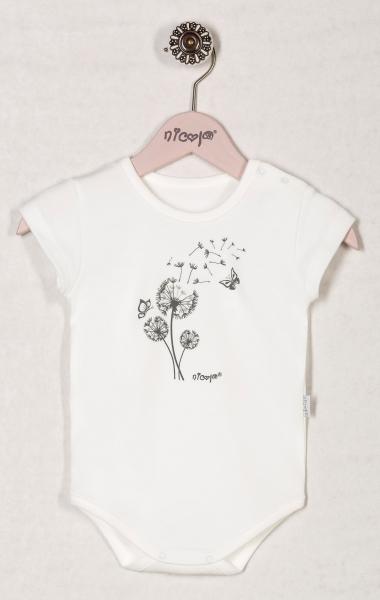 Body RŮŽOVÁ PAMPELIŠKA - krátký rukáv - bílé, roz. 98, Velikost: 98 (24-36m)